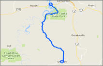 Camdenton to Eldridge Map